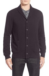 Men's Velvet By Graham And Spencer Shawl Collar Button Front Cardigan Exhaust Grey