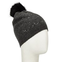 John Lewis Studded Wool Blend Beanie Hat Charcoal