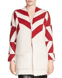 Maje Milady Color Block Cardigan Red