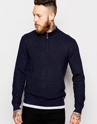 Ted Baker Knitted Jumper With Zip Neck Navy
