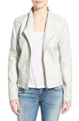 Women's Sam Edelman Asymmetrical Zip Faux Leather Jacket Frosted Grey