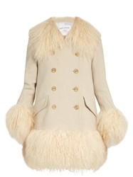 Sonia Rykiel Wool Crepe And Lamb Fur Coat Cream