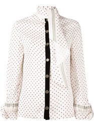 Philosophy Di Lorenzo Serafini Polka Dot Scarf Blouse Pink And Purple