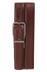 Ermenegildo Zegna Men's Reversible Calfskin Leather Belt Burgundy Black