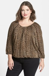 Plus Size Women's Michael Michael Kors 'Persian Leopard' Print Scoop Neck Peasant Top Toffee