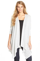 Painted Threads Stripe Open Front Cardigan Grey