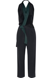3.1 Phillip Lim Wrap Effect Silk And Cotton Twill Jumpsuit Midnight Blue