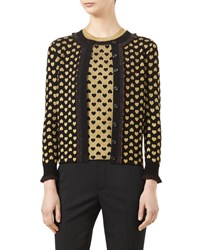 Gucci Heart Jacquard Long Sleeve Cardigan Black Gold