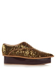 Delpozo Sequin Flatform Derby Shoes Khaki