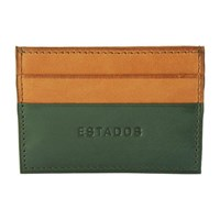 Estados Luxury Leather Card Holder British Racing Green And Tan