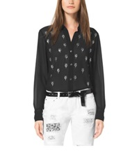 Michael Kors Embellished Button Down Blouse Black