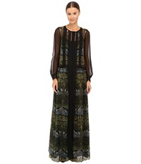Alberta Ferretti Long Sleeve Sheer Overlay Printed Maxi Dress Green Women's Dress