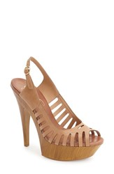 Jessica Simpson Women's 'Finch' Platform Peep Toe Sandal Buff Leather