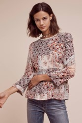 Anthropologie Auxerre Patchwork Top Neutral Motif