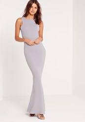 Missguided Low Back Maxi Dress Grey Grey