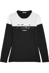 Fendi Appliqued Wool Sweater Black