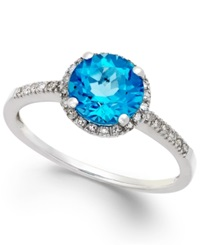 Macy's Blue Topaz 1 1 2 Ct. T.W. And Diamond 1 8 Ct. T.W. Ring In 14K White Gold