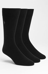 Men's Polo Ralph Lauren Combed Cotton Blend Socks Black 3 Pack
