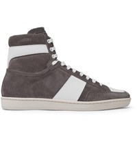 Saint Laurent Sl10 Leather Trimmed Suede High Top Sneakers Gray
