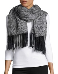 Lord And Taylor Boucle Fringed Wrap Grey