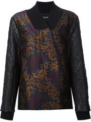 Yigal Azrouel Quilted Sleeve Jacquard Bomber Jacket Blue