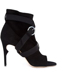 Jerome Rousseau 'Duvall' Peep Toe Ankle Boots Black