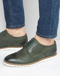 Asos Brogue Shoes In Khaki Leather With White Sole Khaki Green