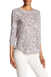 Rebecca Taylor Long Sleeve Dot Print Linen Tee Brown