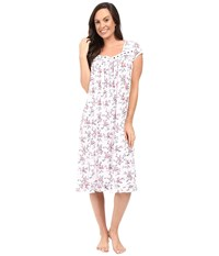 Eileen West Cap Sleeve Waltz Nightgown White Ground Rudy Multi Floral Women's Pajama