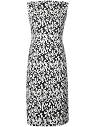 Paule Ka Floral Print Fitted Dress Black