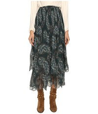 See By Chloe Crepon Paisly Maxi Skirt Frosty Green