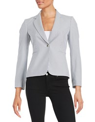 Tahari By Arthur S. Levine Petite Striped Seersucker Blazer Navy White