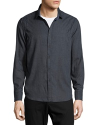 Howe Woven Sport Shirt W Embroidered Detail Wall Stree