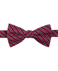 Tommy Hilfiger Men's Small Stripe Pre Tied Bow Tie Red
