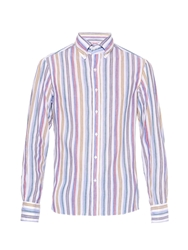 Michael Bastian Striped Cotton And Linen Blend Shirt