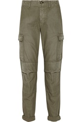 Rag And Bone Combat Mid Rise Cotton Canvas Cargo Pants Green