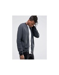 Asos Jersey Bomber Waffle Jacket In Washed Black Grey