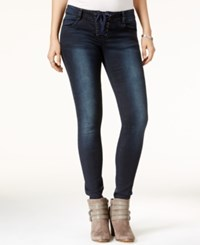 Rampage Juniors' Chloe Curvy Lace Up Super Skinny Jeans Louis