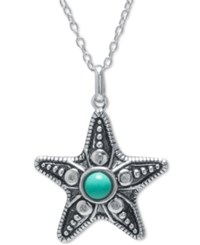 Macy's Manufactured Turquoise Starfish Pendant Necklace In Sterling Silver