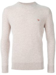 Maison Kitsune Embroidered Logo Jumper Nude And Neutrals