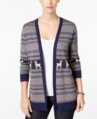 G.H. Bass And Co. Patterned Cardigan Heather Deep Navy Combo