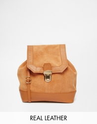 Asos Leather And Suede Vintage Shoulder Bag Tan
