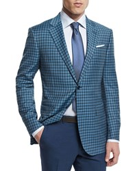 Ermenegildo Zegna Check Two Button Wool Jacket Teal Blue