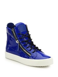 Giuseppe Zanotti Double Zip Patent Leather High Top Sneakers