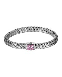Classic Chain 7.5Mm Medium Braided Silver Bracelet Pink Spinel John Hardy