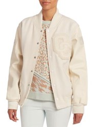 Opening Ceremony Long Sleeve Varsity Jacket Camel White