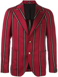 Tagliatore Striped Two Button Blazer Red