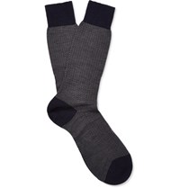 Pantherella Finsbury Herringbone Erino Wool Blend Socks Navy