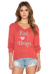 Wildfox Couture X Revolve Eat Your Heart Out V Neck Red