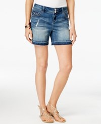 Inc International Concepts Embroidered Indigo Wash Denim Shorts Only At Macy's